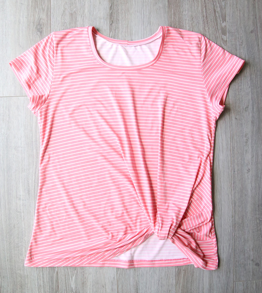 Get the free sewing pattern for this twist knot tee and learn how to make an easy t-shirt with a knot hem.