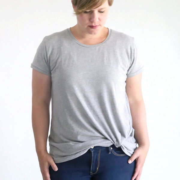 Woman wearing gray t-shirt made from the twist knot tee sewing pattern