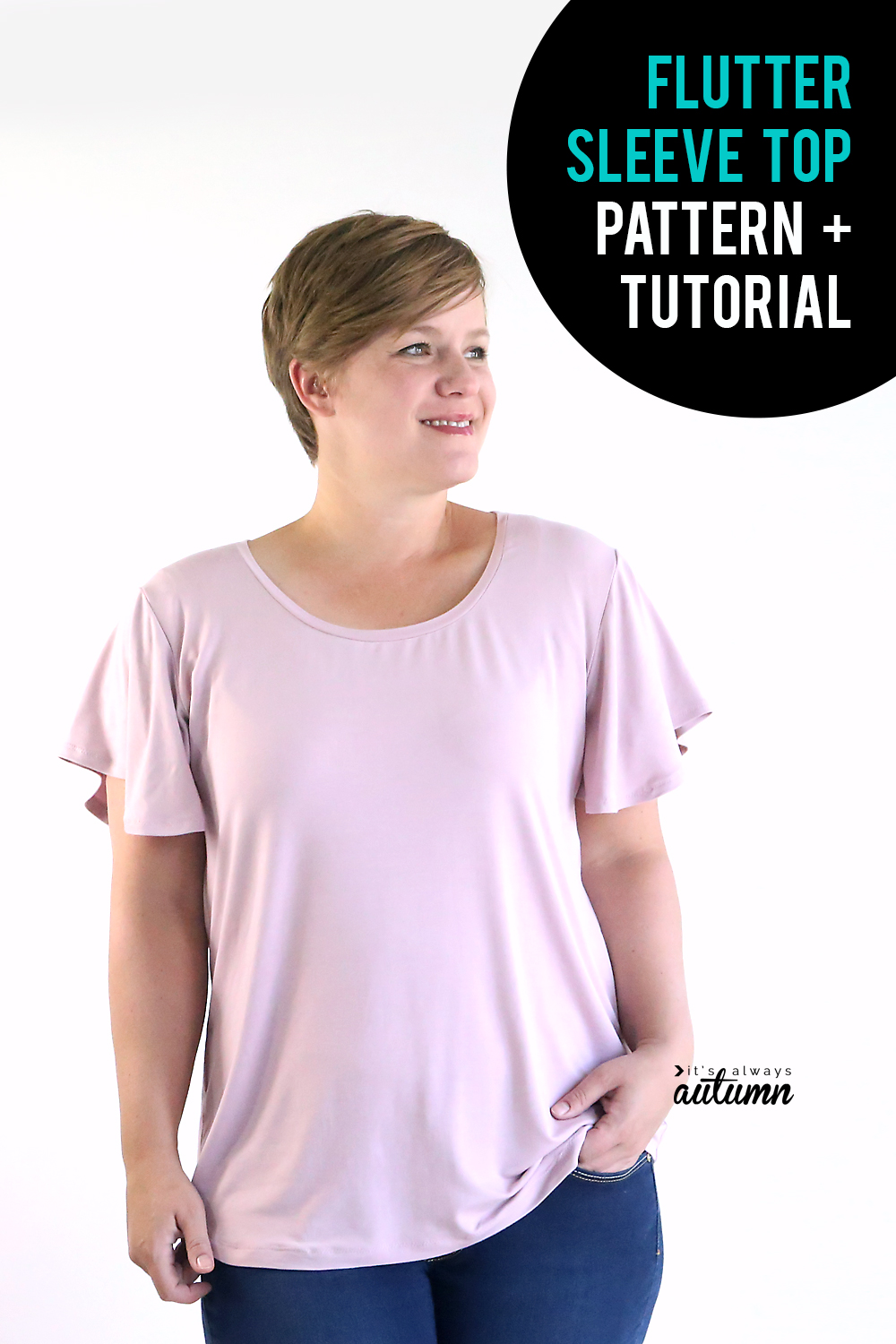 Click through to download the sewing pattern for this cute women's top with flutter sleeves.