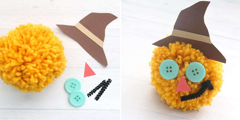 Scarecrow yarn pom pom