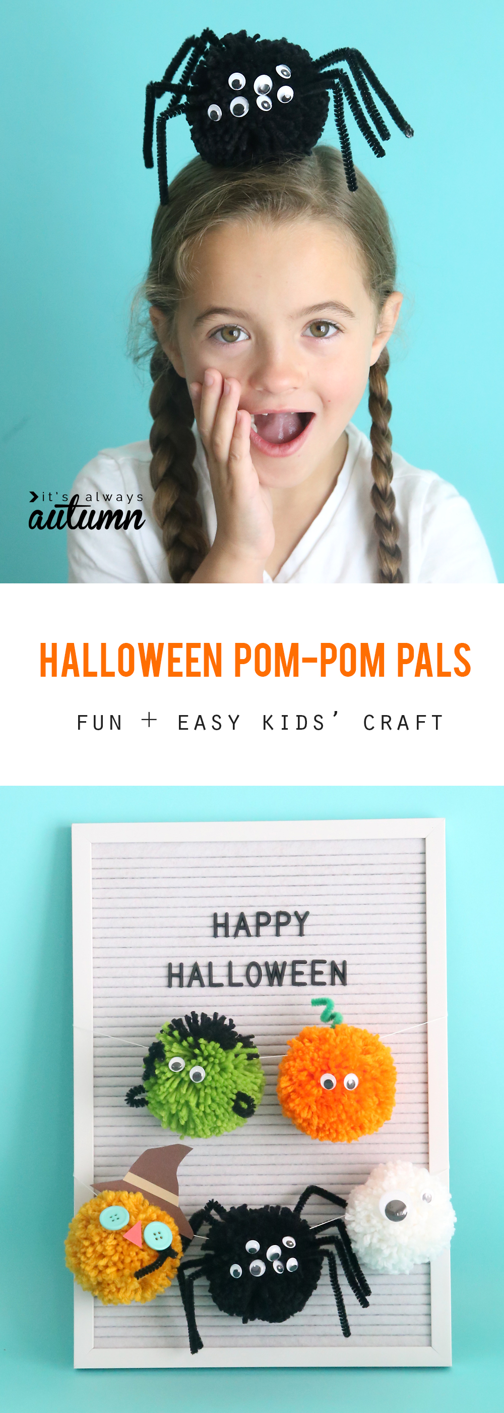 Girl with a pom pom spider on her head; Halloween pom poms hanging on a garland
