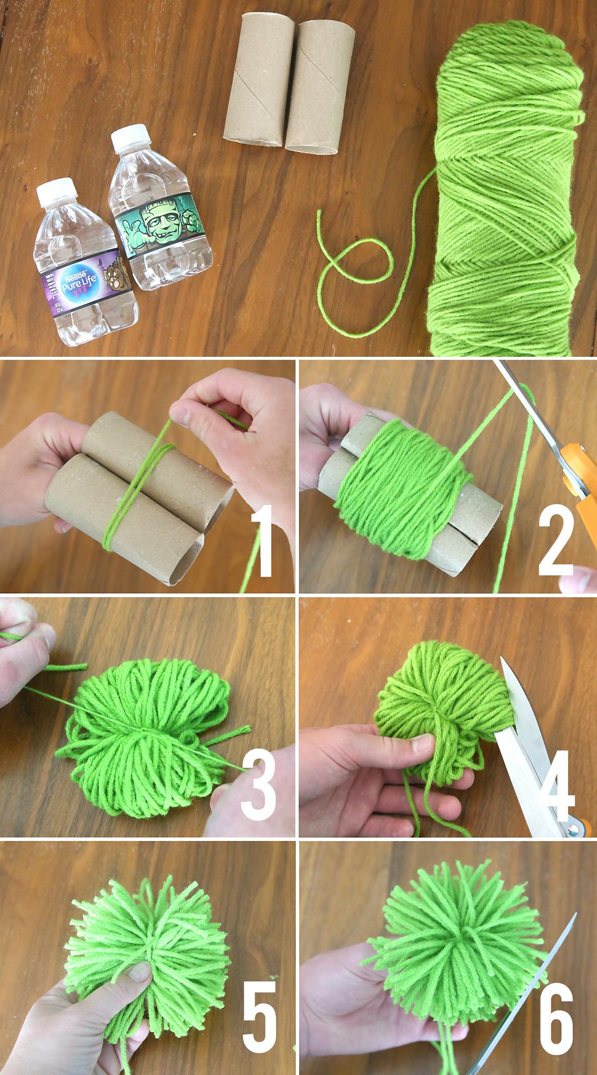 Steps for making yarn pom pom: wrap yarn around two empty toilet paper rolls, tie yarn between them, pull tie tight, snip open loops of yarn
