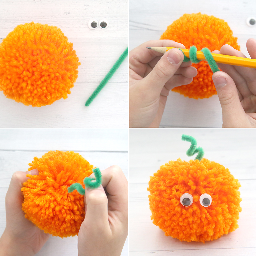 Pumpkin yarn pom pom