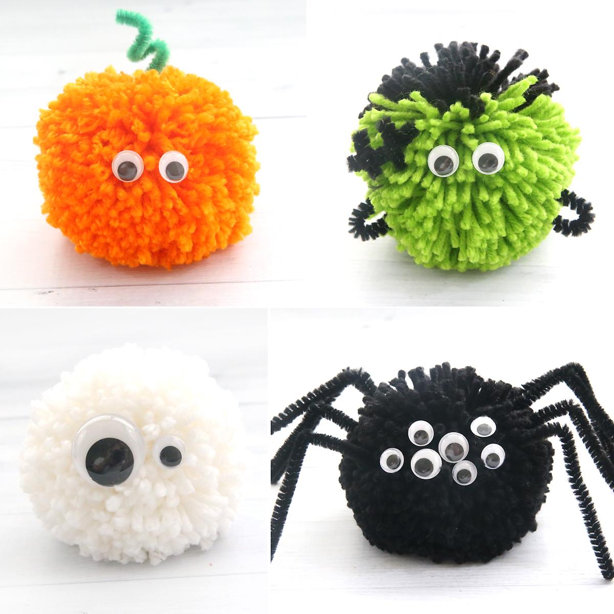 Halloween pom poms: pumpkin, Frankenstein, ghost, and spider