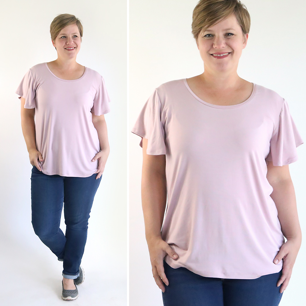 How to sew a pretty flutter sleeve tee for women. Free sewing pattern and tutorial for this easy ruffle sleeve t-shirt.