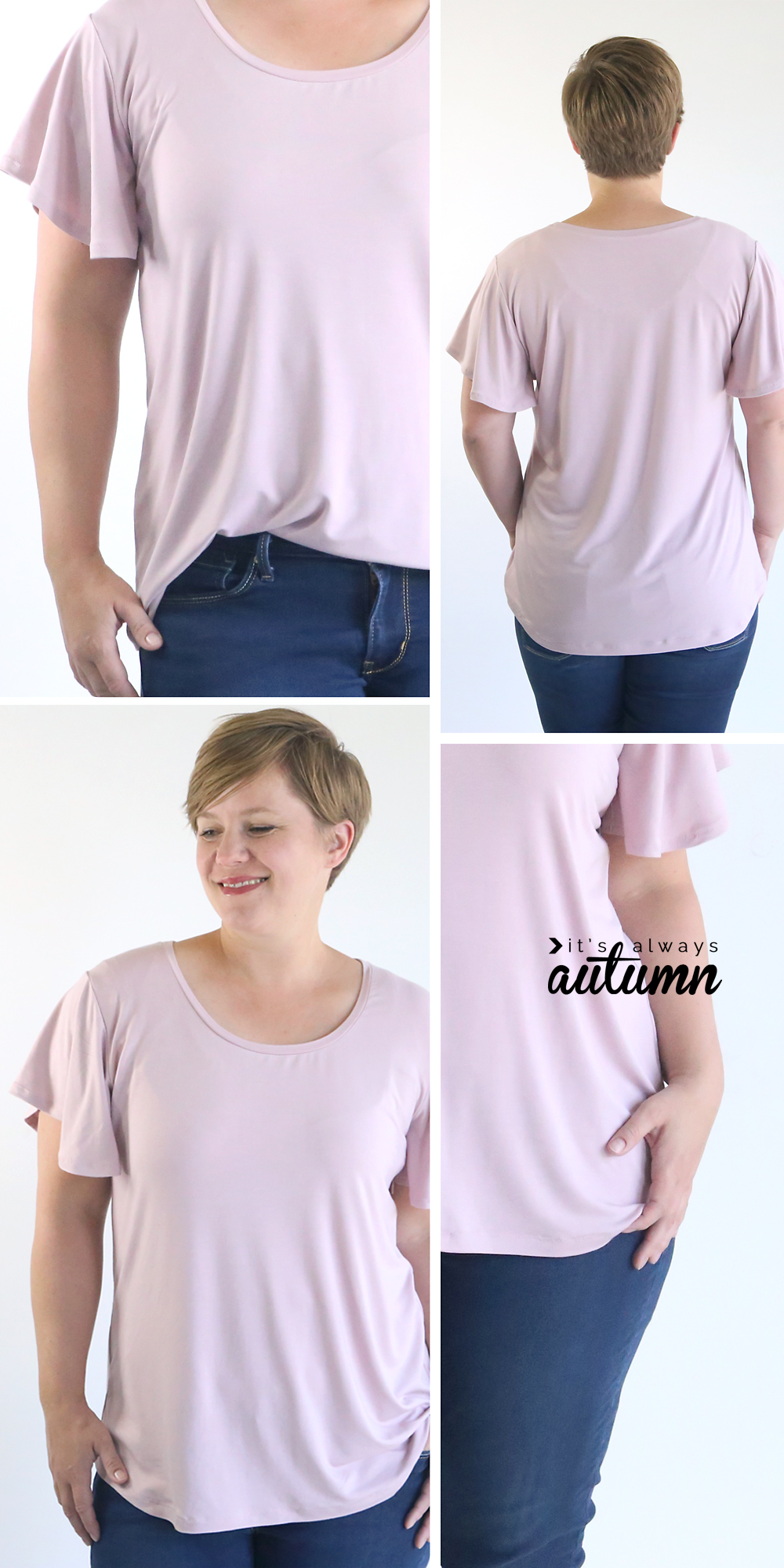 A woman wearing a pink t-shirt with flutter sleeves, made from a free sewing pattern