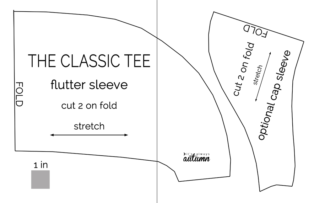Classic tee flutter sleeve sewing pattern diagram