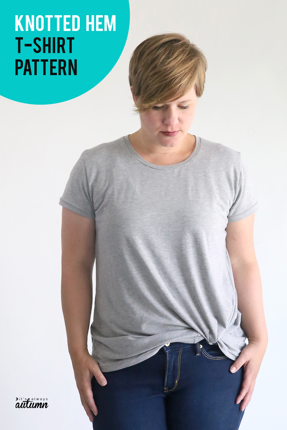 Click through to download the pattern for this cute knotted hem t-shirt pattern.