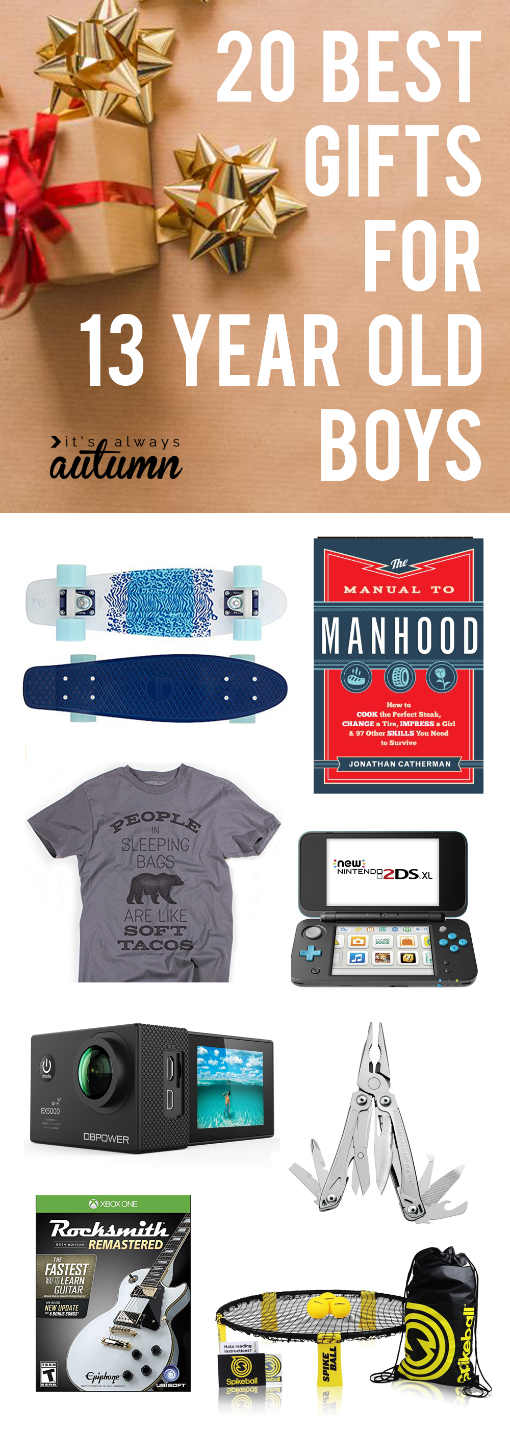 Best gifts for 13 year old boys! Great Christmas gift ideas for tween and teen boys ages 11-15.