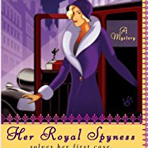 Her Royal Spyness book cover, woman exiting and old fashioned car