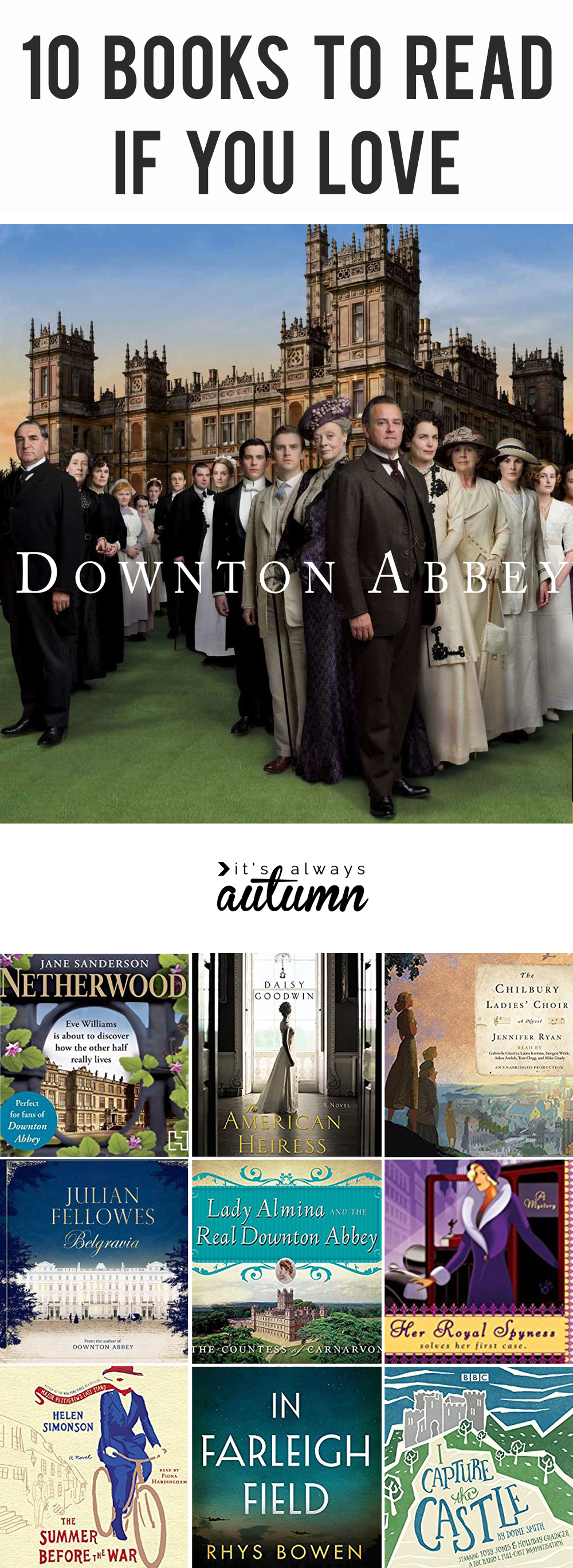 Downton Abbey photo, and collage of books similar to Downton abbey