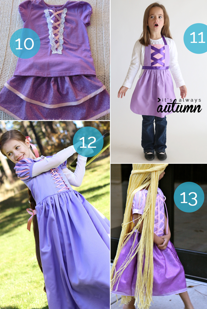 Best tutorials for a DIY Rapunzel costume. Great ideas for Halloween or dress up!