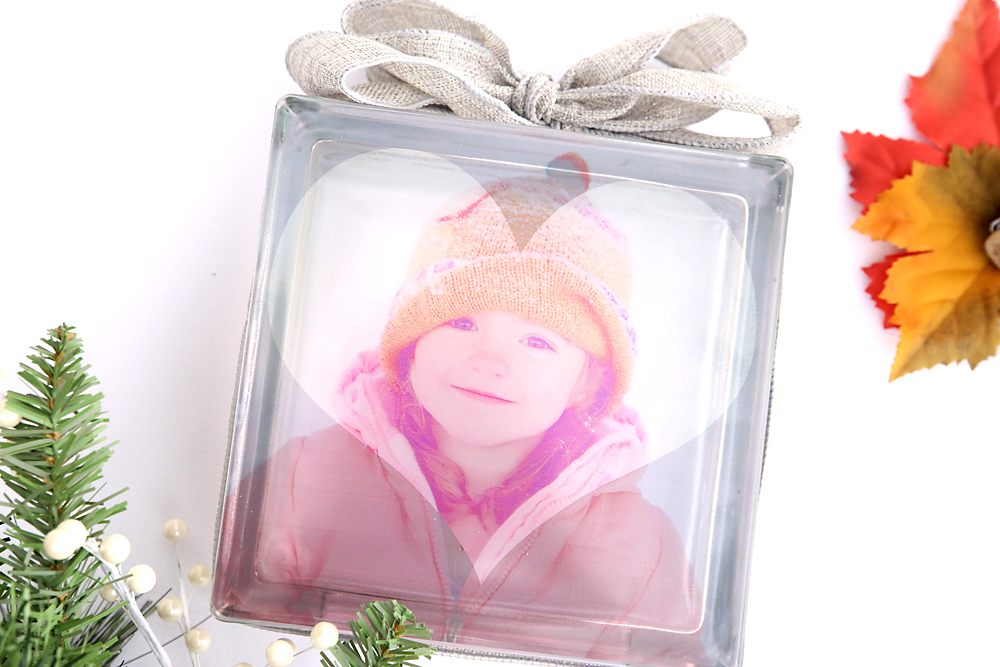 Glass photo block tied with a ribbon