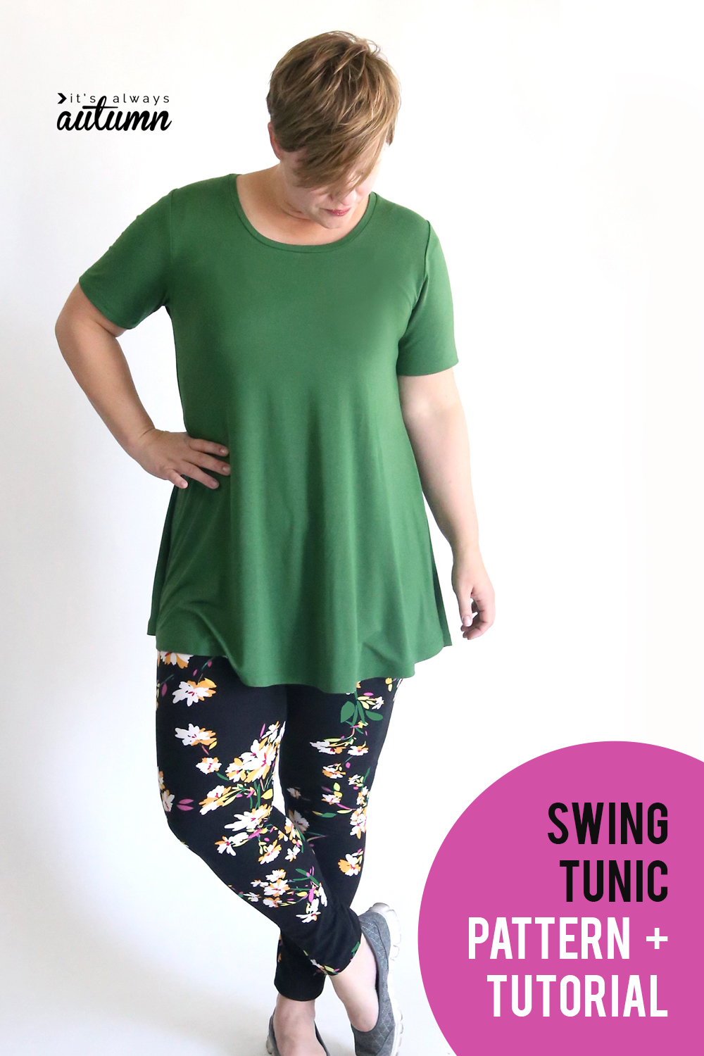 Sew up a cute swing tunic to wear with your favorite leggings this fall! Easy sewing pattern and tutorial.