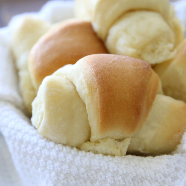 A close up of homemade buttery crescent roll