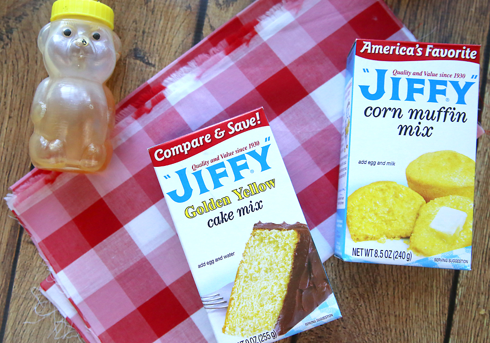 Moist, sweet cornbread just like Grandma used to make! This easy sweet Jiffy cornbread recipe uses a cornbread mix + a yellow cake mix for the best easy cornbread ever!