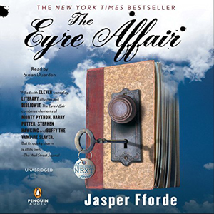 The Eyre Affair book cover, book with a doorknob and key