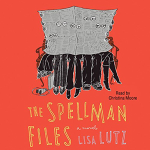 The Spellman Files book cover, illustration of people behind newspaper
