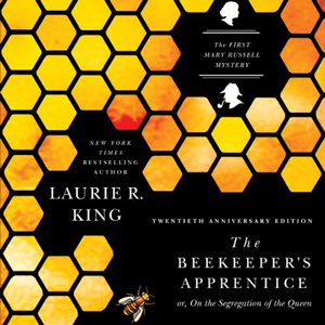 The Beekeeper\'s Apprentice book cover, bee and honeycomb design