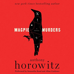 Magpie Murders book cover, red with a raven