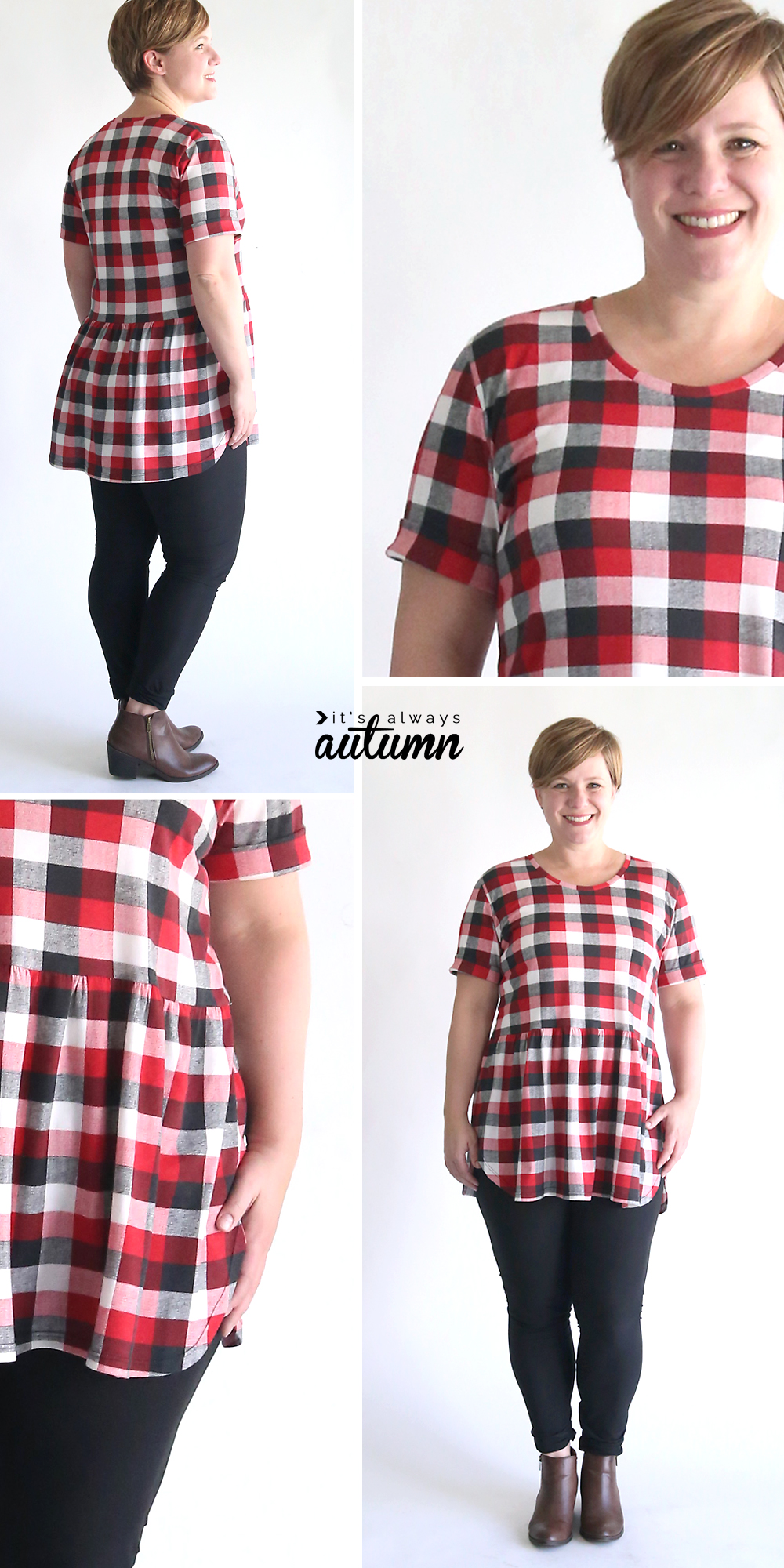 Learn how to sew this easy peplum top, perfect for wearing with leggings! Free pattern and sewing tutorial.