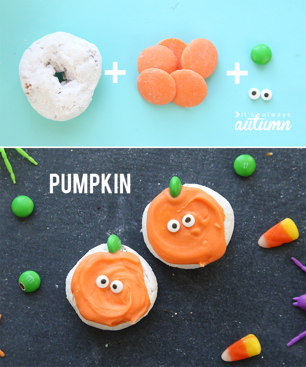 Cute Halloween donuts! Make four different mini Halloween donuts with just four ingredients each.