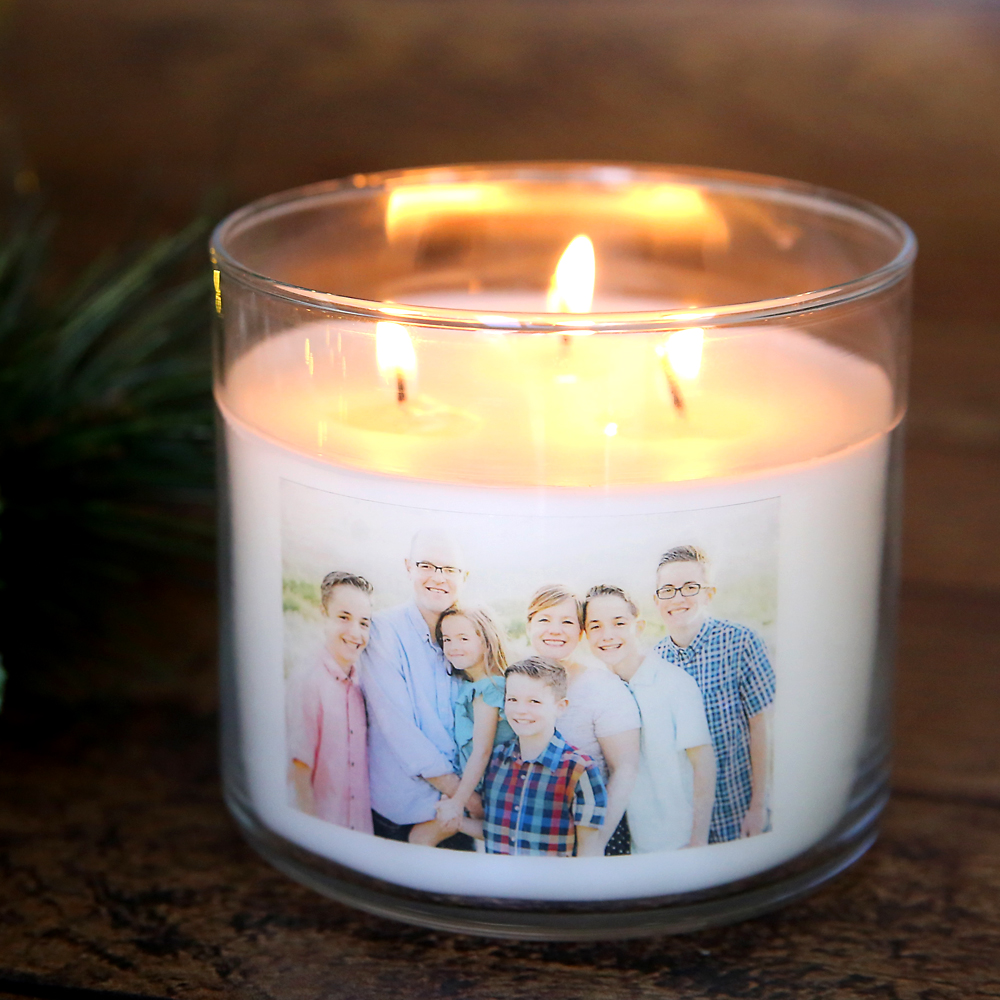 Personalized photo candle: white candle in a glass jar with a photo on the front