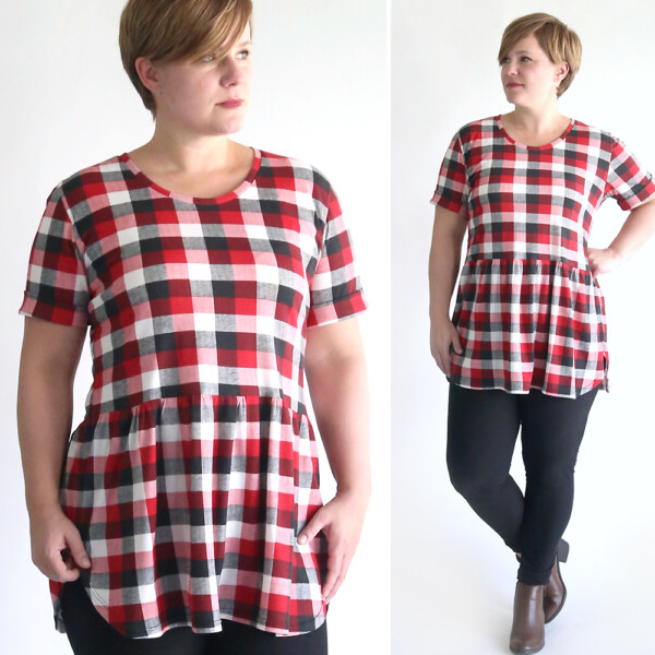 A woman wearing a plaid peplum top made from a free sewing pattern and leggings