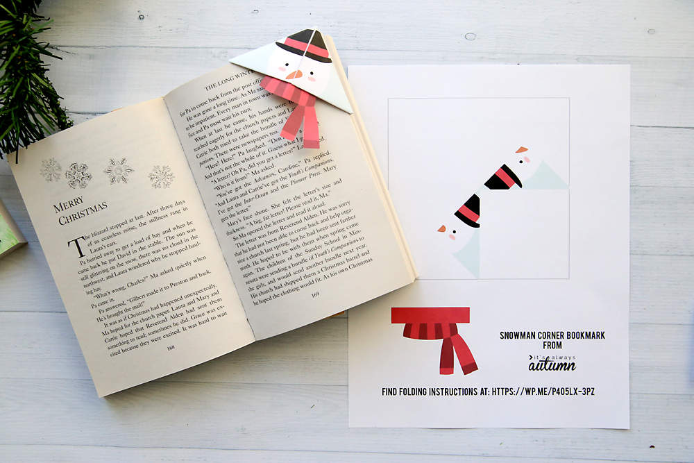 Snowman corner bookmark and template