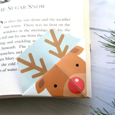 Printable Christmas origami bookmarks
