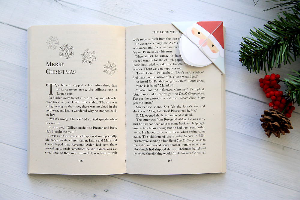Santa corner bookmark on a book