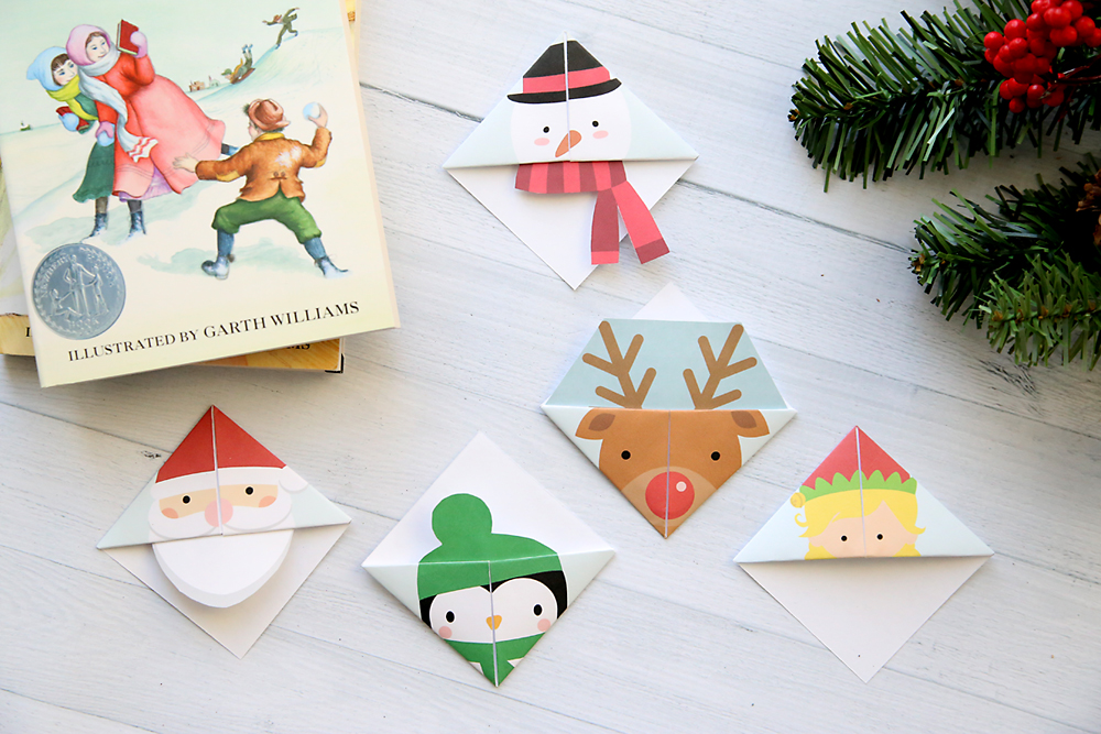 Print and Fold origami bookmarks in various Christmas characters