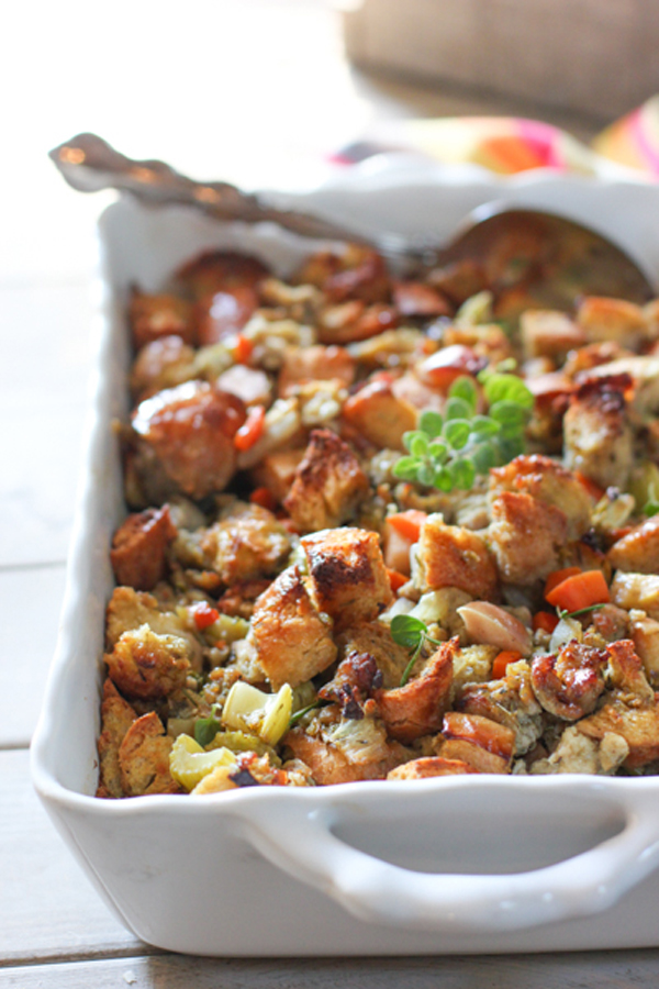Make ahead Thanksgiving stuffing with apples and sausage, in a dish