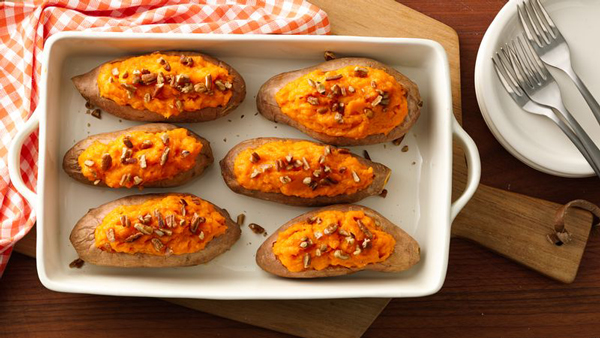 Twice baked sweet potatoes in a baking dish