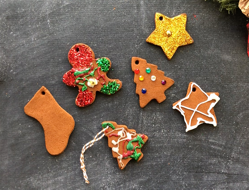 Cinnamon ornaments decorated by kids.