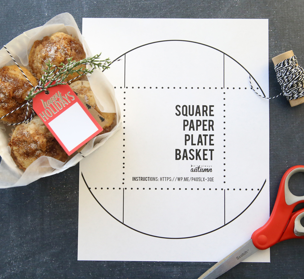Square paper plate basket template