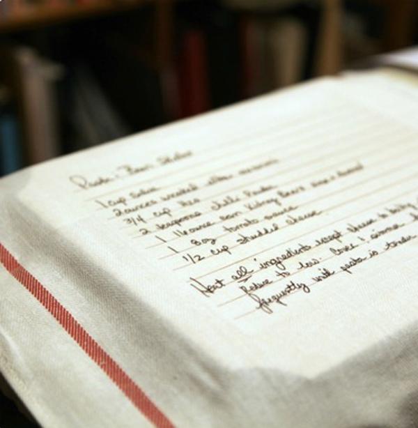Kitchen towel with handwritten recipe transferred onto it