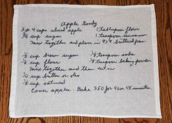 Kitchen towel with handwritten recipe