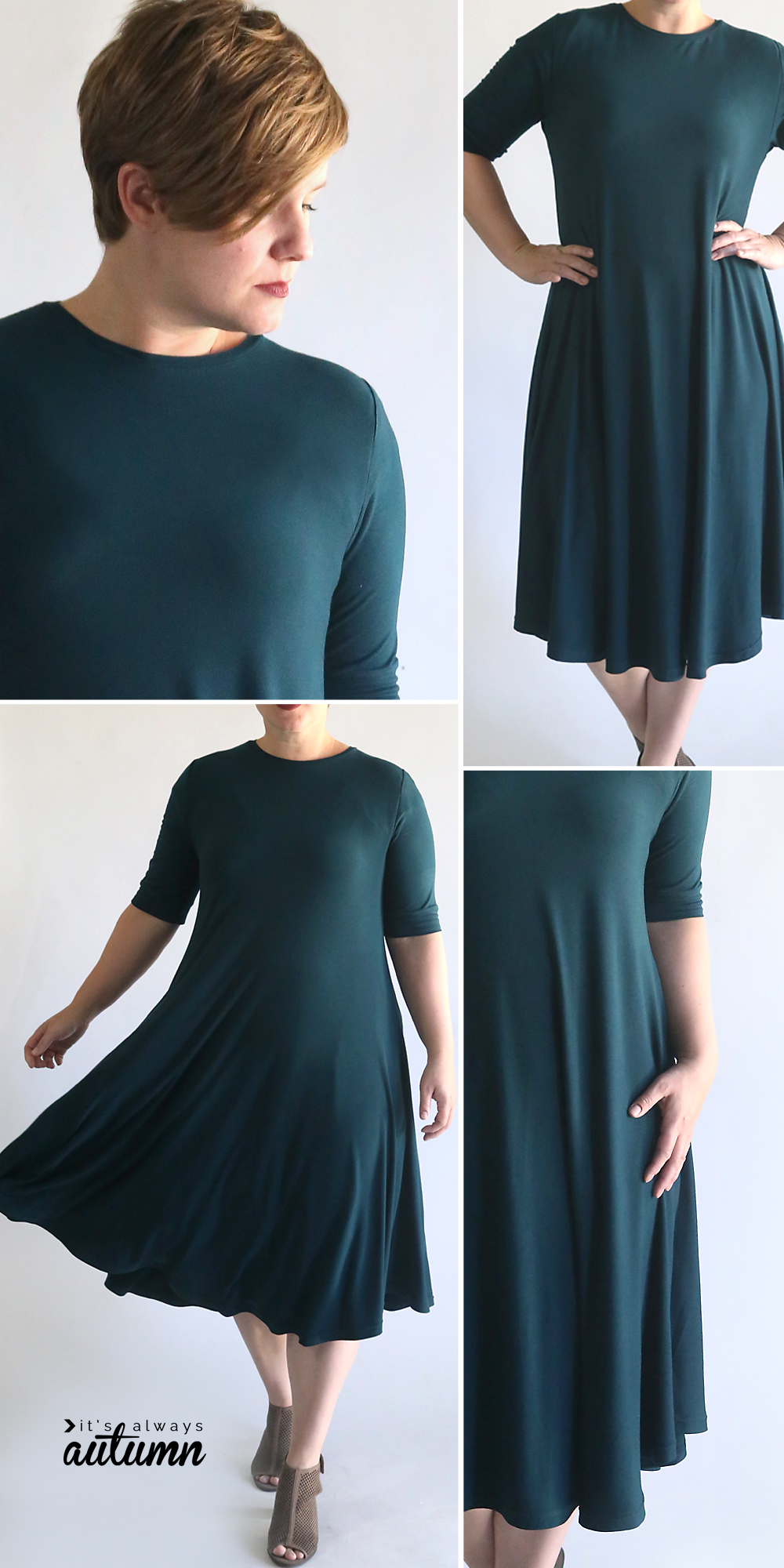Easy swing dress pattern and sewing tutorial. How to sew a swing dress.