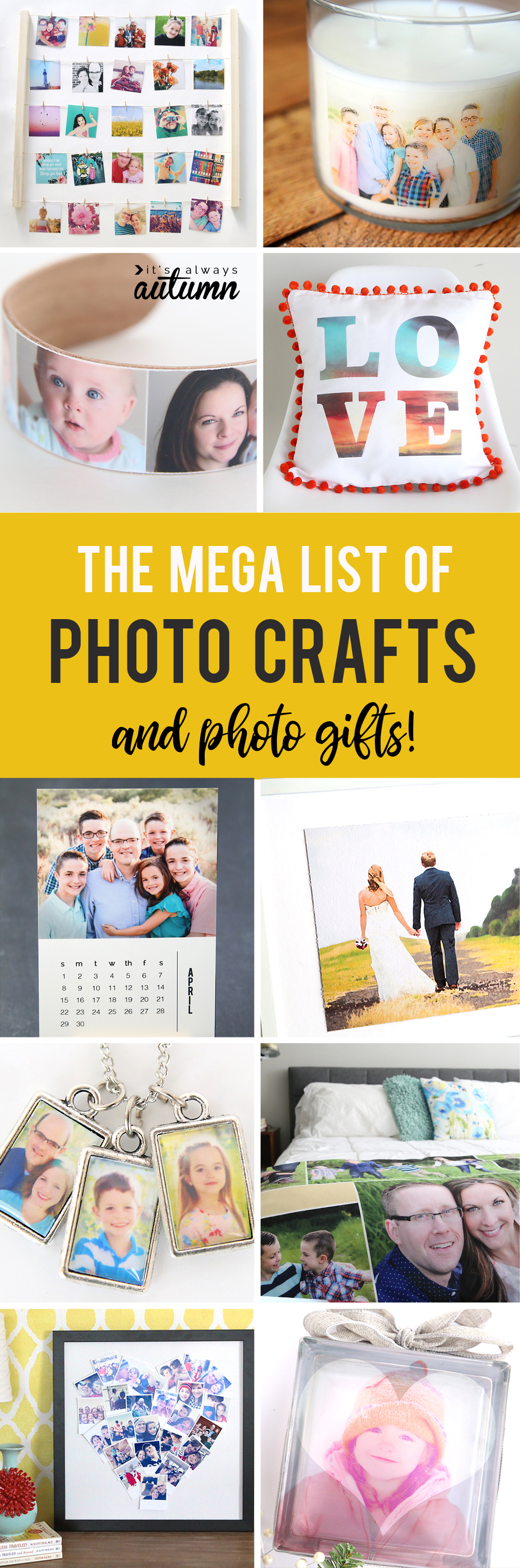 Collage of photo crafts and photo gifts