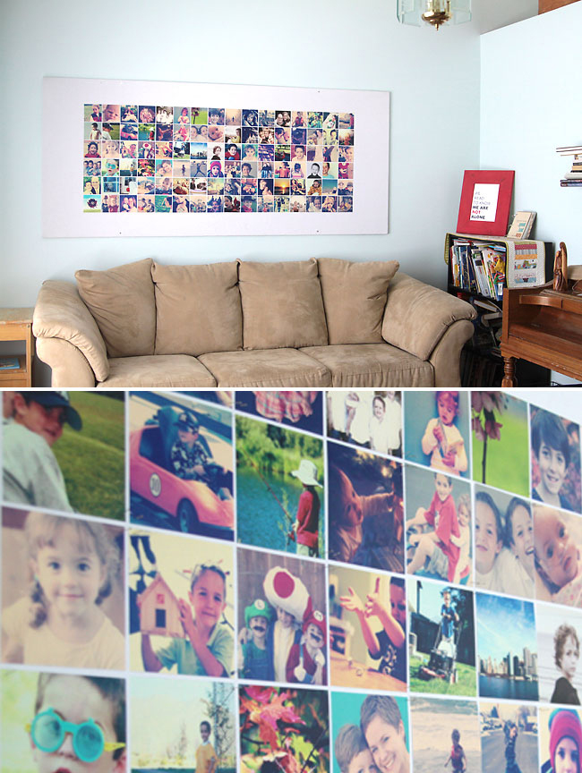Large DIY bulletin board filled with photos above a couch