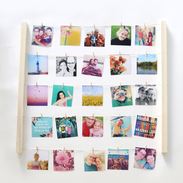 DIY clothespin photo display craft idea