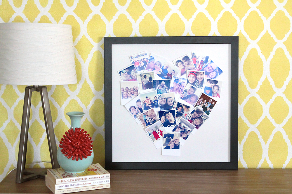 Photos arranged in a heart shape and framed