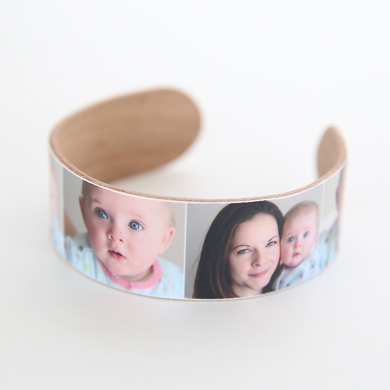DIY popsicle stick bracelet with photos on it