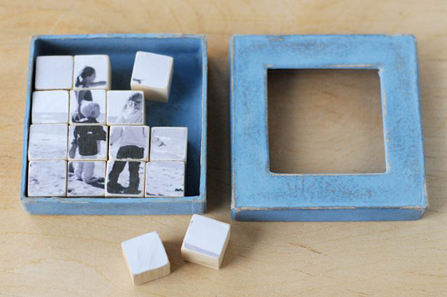 Photo puzzle craft: photo transferred onto blocks that can be rearranged