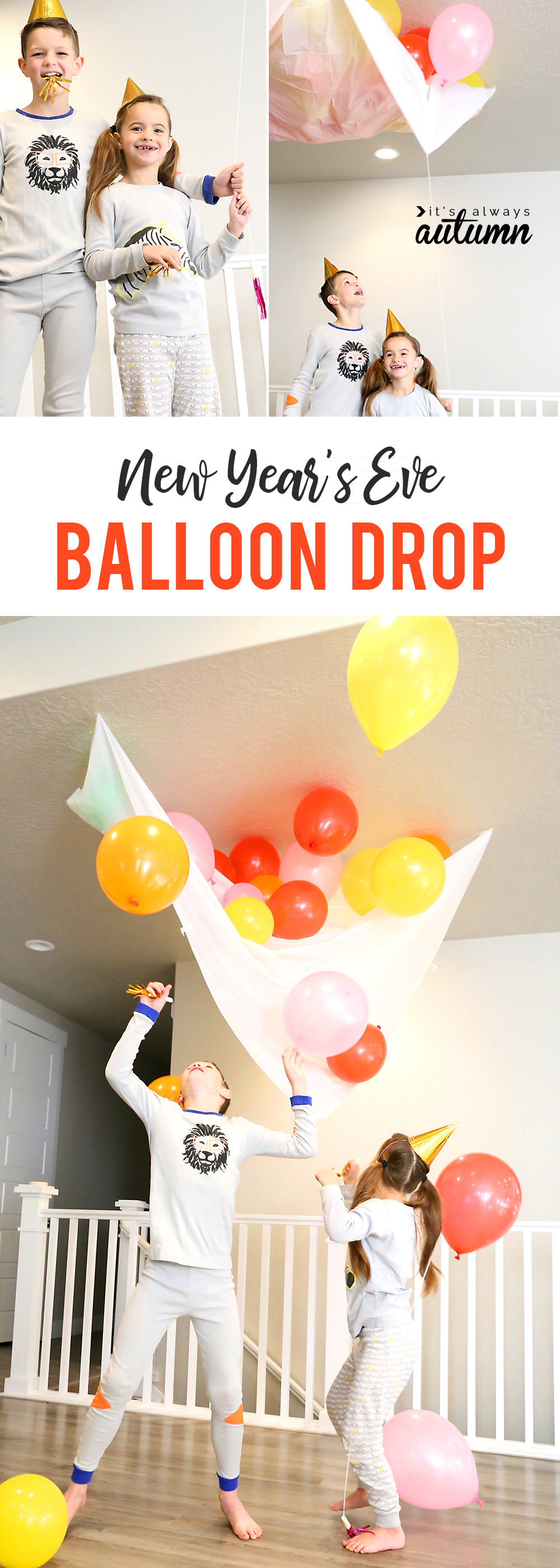New Year\'s Eve balloon drop at home; kids playing with balloons