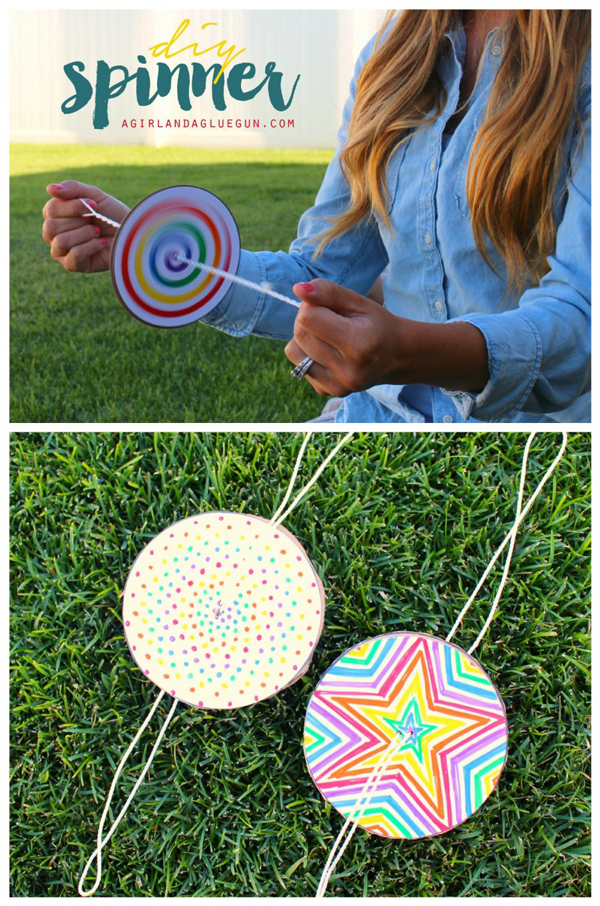 DIY colorful spin toy for kids