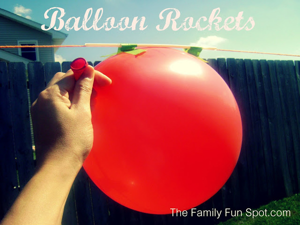 Balloon rocket: balloon taped to a straw that goes over a string track