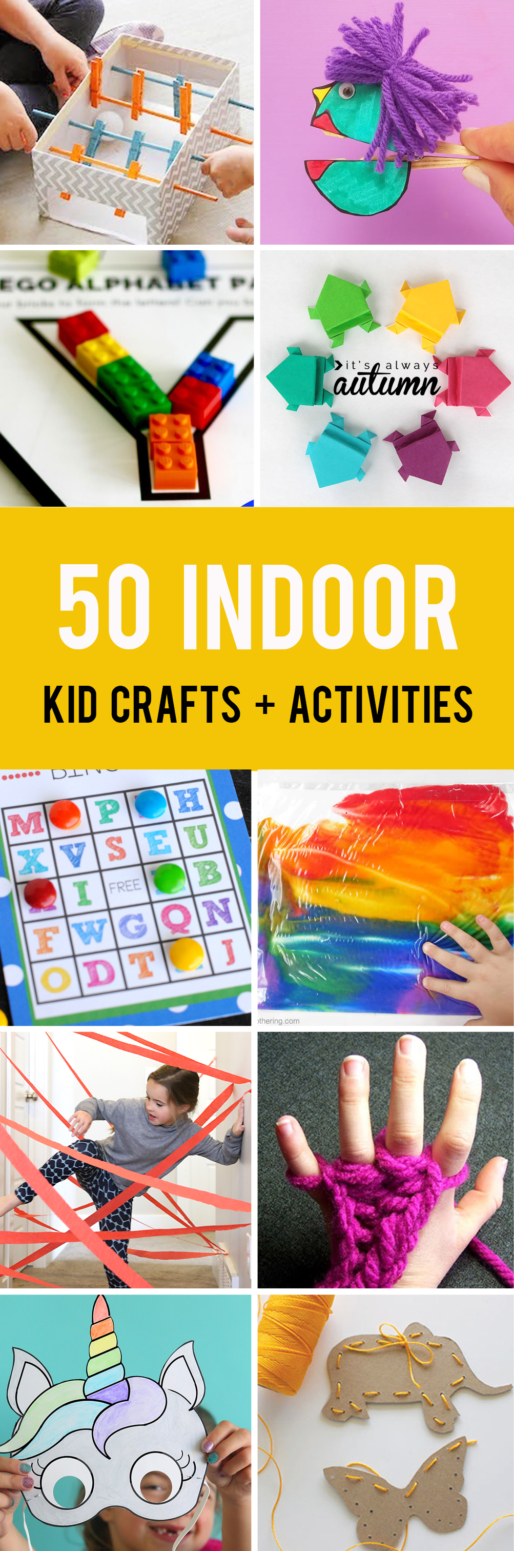 50 easy crafts and activities kids can do indoors! Perfect for cold or rainy days.