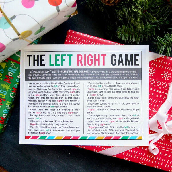 The Left Right Game story printable with a Christmas gift